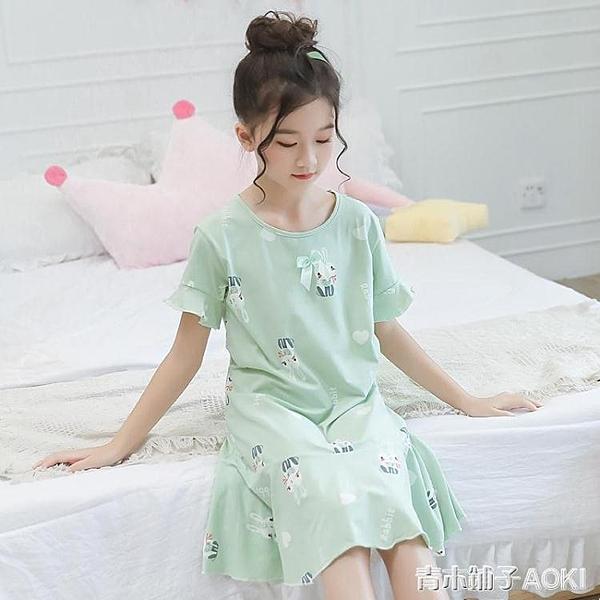 女童睡裙兒童睡衣女夏季純棉短袖夏天親子母女大童女孩裙子夏薄款 青木鋪子