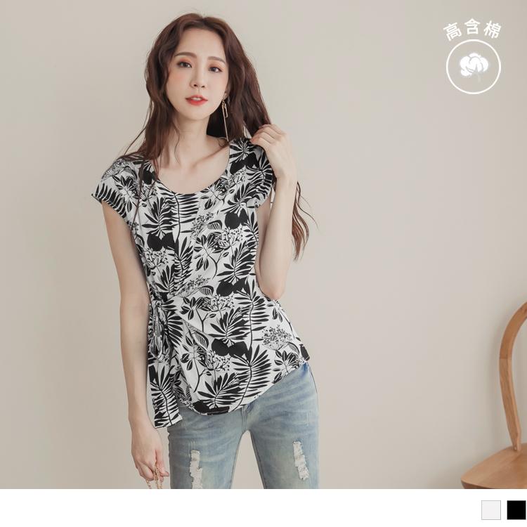 韓系手繪印花拼接側腰綁帶不易皺雪紡上衣
