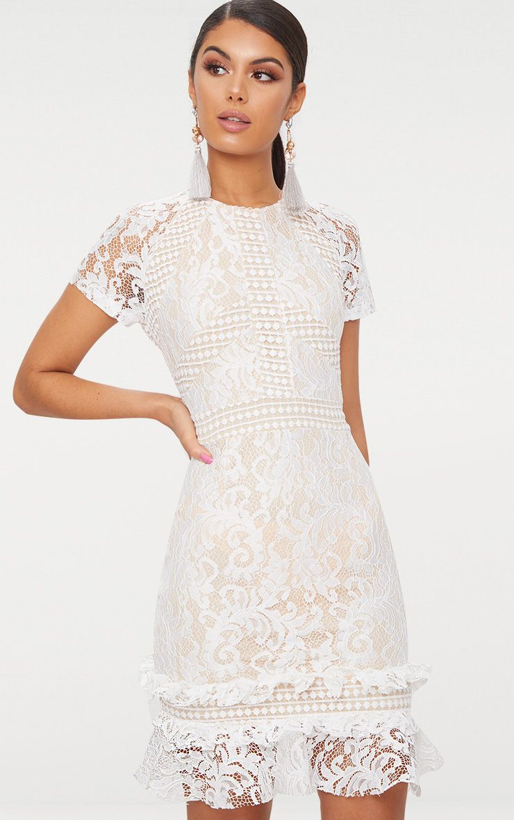 White Frill Hem Lace Bodycon Dress
