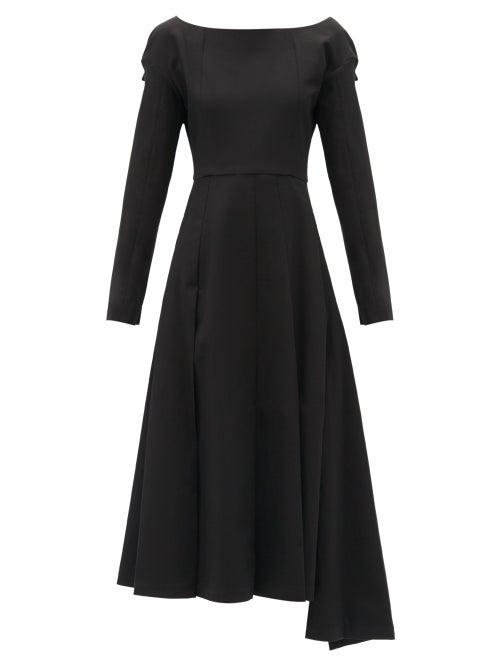 A.w.a.k.e. Mode - Boat-neck Asymmetric Cotton Dress - Womens - Black