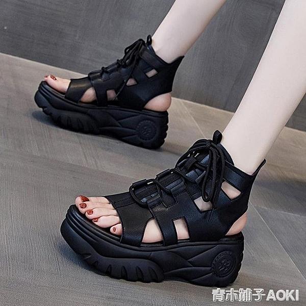 厚底涼鞋女2020年新款夏季時尚百搭休閑黑色運動松糕高幫羅馬涼靴 青木鋪子