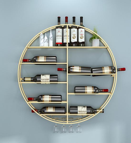 80cm 酒架 置物架 酒櫃 展示架 圓形酒架 墻上大廳紅酒架 高腳杯壁掛 簡約現代葡萄酒架展示架子