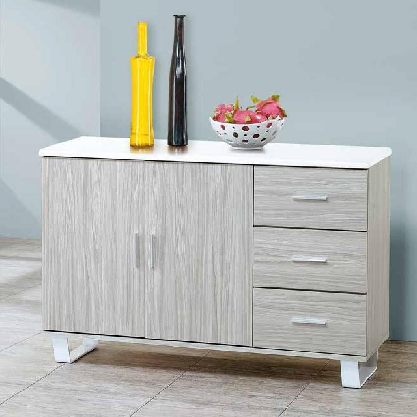120cm北歐餐櫃收納 實木電器櫃 廚房餐櫥櫃 碗盤架 大理石金滿屋尺餐櫃-r314-2 -