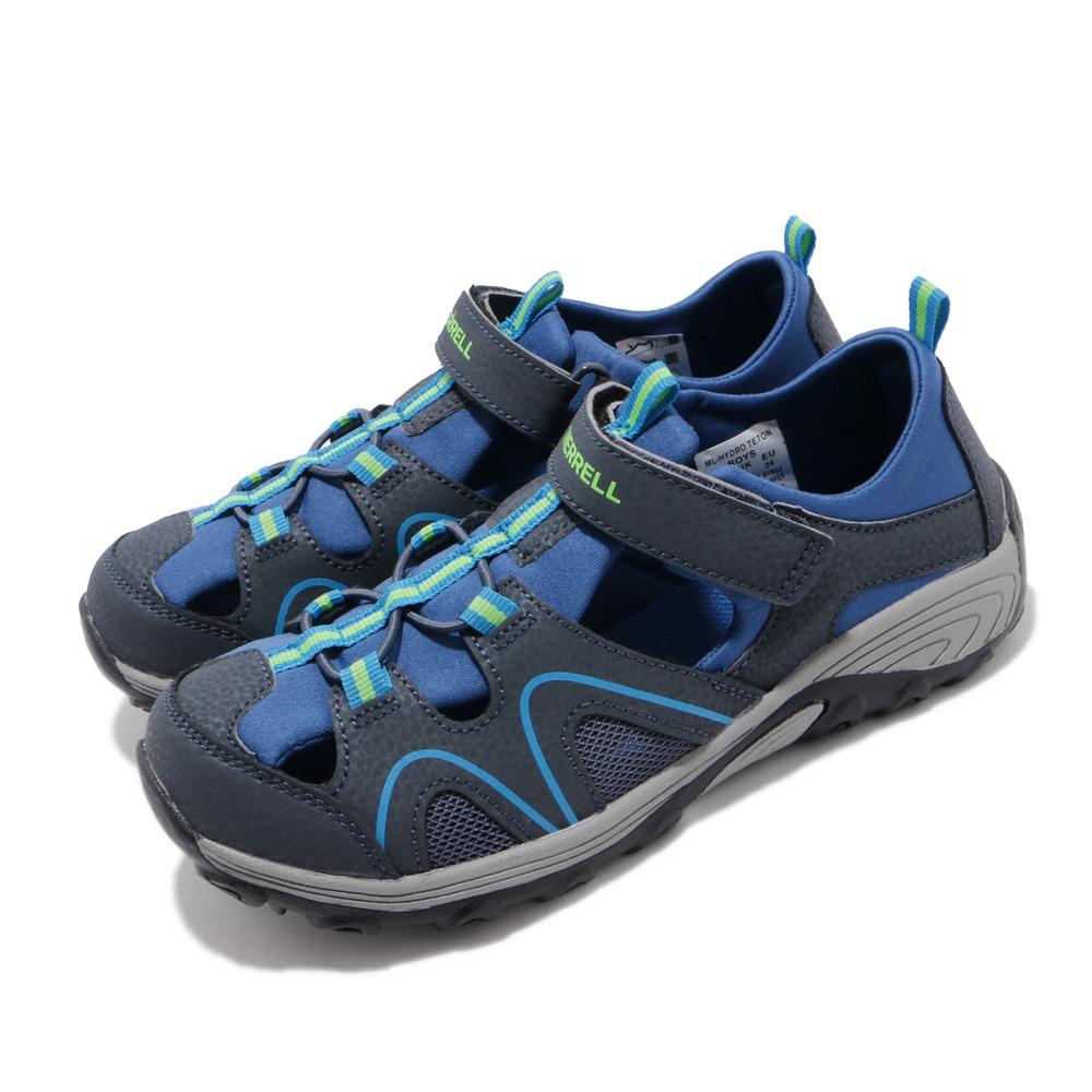 MERRELL 兩用鞋 Hydro Teton 戶外 運動 童鞋 水陸兩棲 快速排水 魔鬼氈 大童 女鞋 藍 綠 [MK262022]