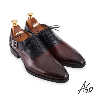 A.S.O 職場通勤 零壓挺力雕花雙色牛津紳士鞋-酒紅