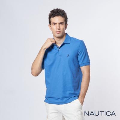Nautica 機能型經典吸濕排汗短袖POLO衫-藍