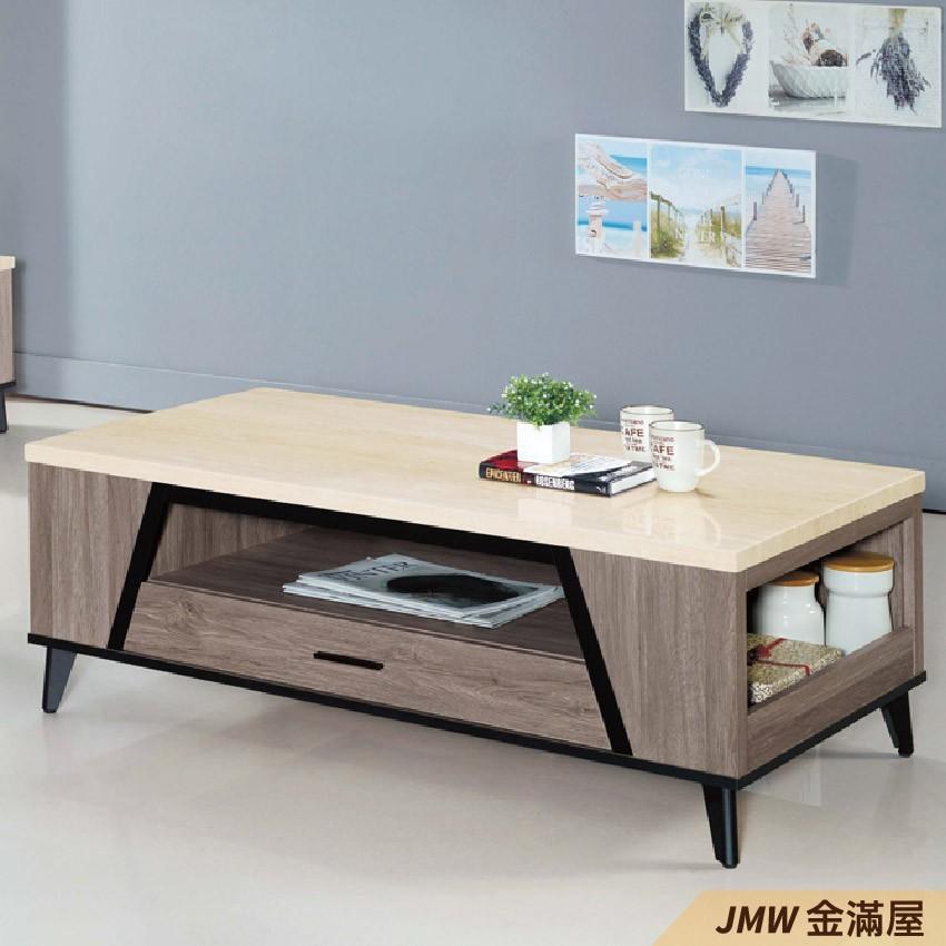 寬120cm客廳茶几 北歐工業風桌金滿屋實木原木玻璃 大理石長方桌 邊几 圓桌-r196-2 -