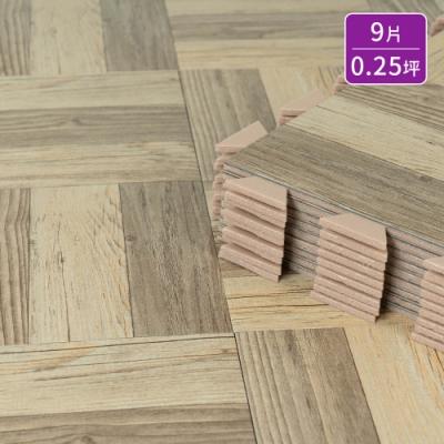 樂嫚妮 防燄降噪耐磨抗菌DIY巧拼地板貼-台灣製盒裝9片-灰橡木色