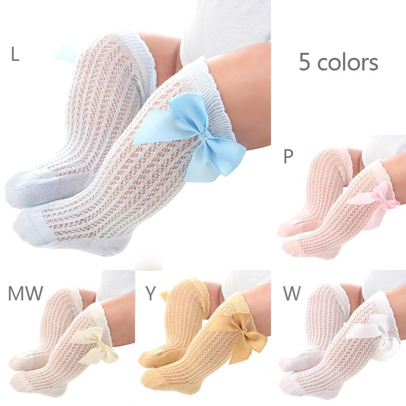 新生嬰兒中長筒襪 鬆口襪子 寶寶夏季新款透氣網襪 防蚊襪 女寶寶可愛大蝴蝶結中筒襪 嬰兒襪【IU貝嬰屋】