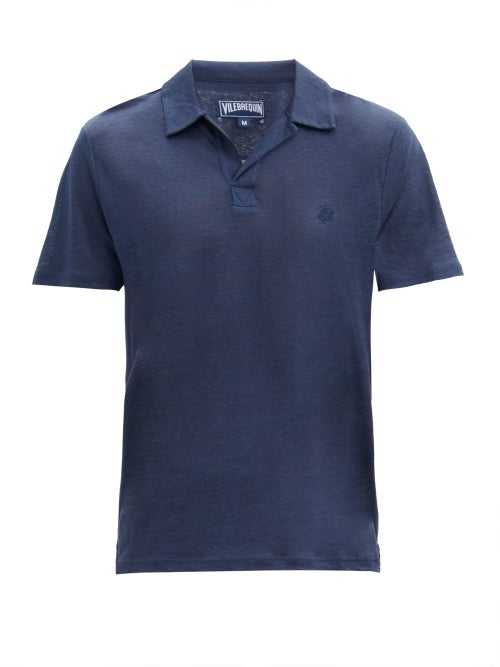 Vilebrequin - Pyramid Linen Polo Shirt - Mens - Navy