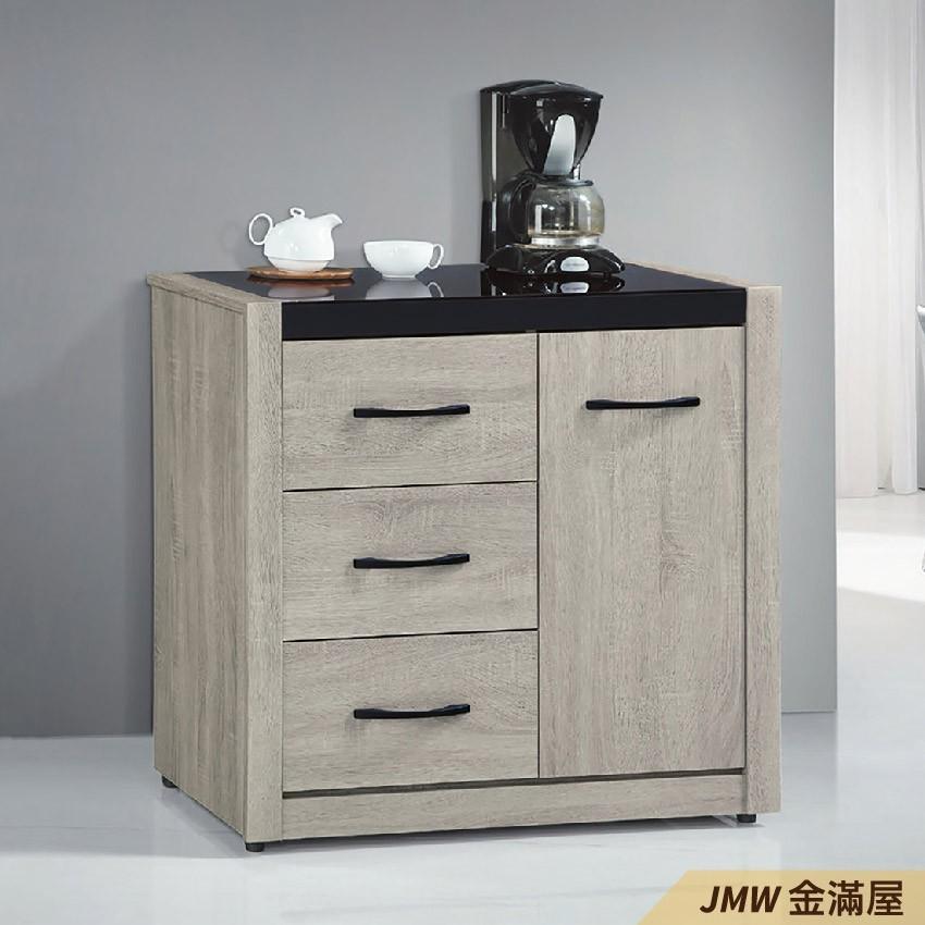 84cm北歐餐櫃收納 實木電器櫃 廚房餐櫥櫃 碗盤架 大理石金滿屋尺餐櫃-q714-2 -