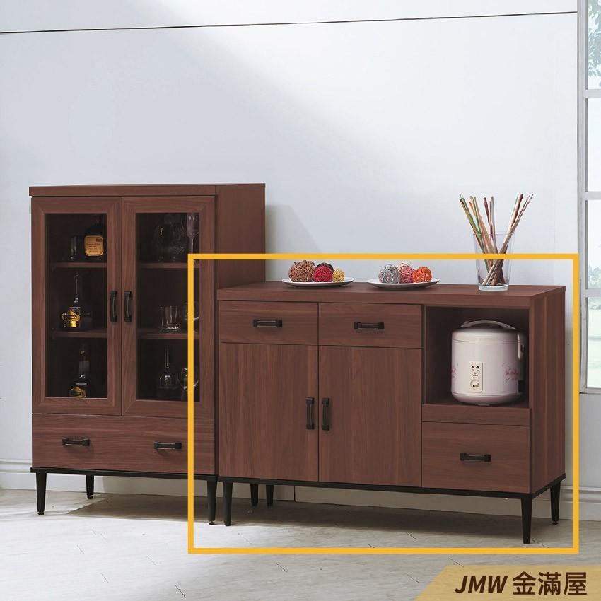 120cm北歐餐櫃收納 實木電器櫃 廚房餐櫥櫃 碗盤架 大理石金滿屋尺餐櫃-q718-2 -