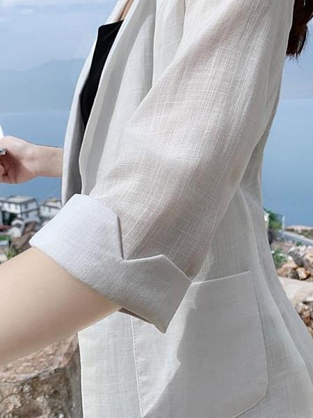 西裝外套 薄款亞麻西裝女春夏季新款英倫風休閒百搭棉麻小西服大碼外套 瑪麗蘇