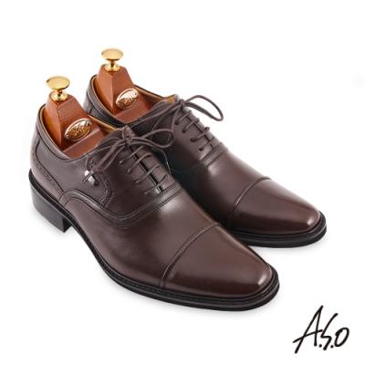 A.S.O  勁步健康內增高綁帶牛津紳士鞋-咖啡
