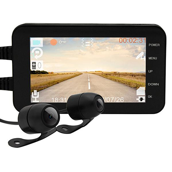 機車行車記錄儀摩托車專用行車記錄儀4寸防水高清WIFI雙鏡頭記錄儀 潮流衣舍