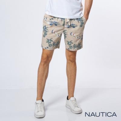 Nautica 流行百搭渡假風印花短褲-卡其