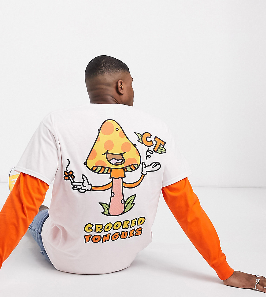 Crooked Tongues t-shirt with mushroom back print in orange-White