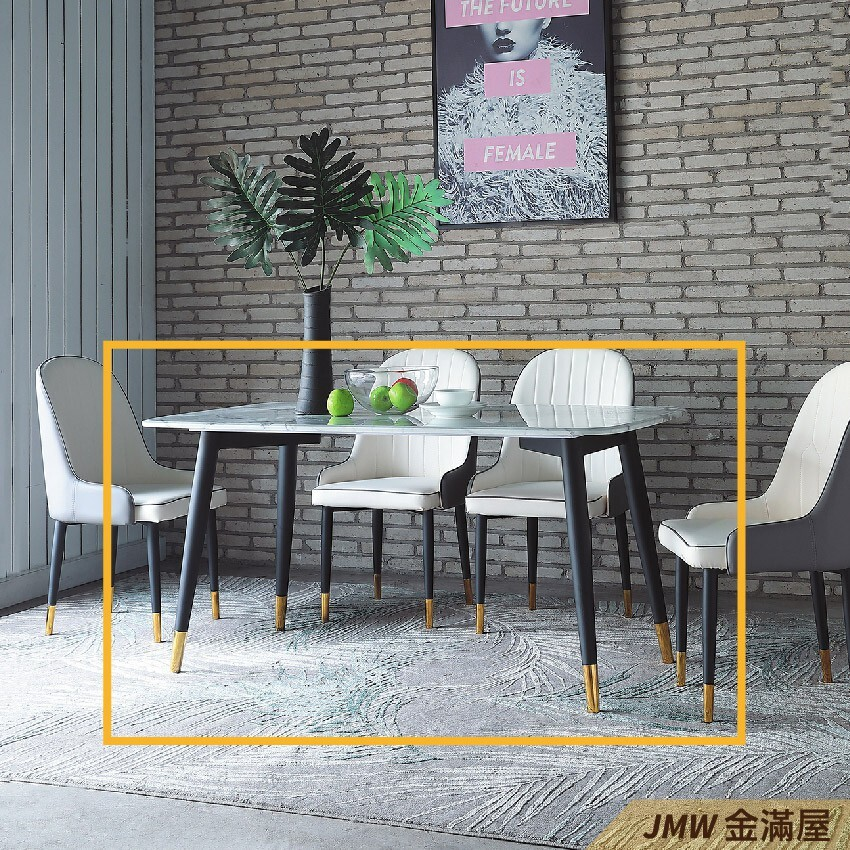 150cm餐桌 長型餐桌組 北歐大理石桌子 圓形桌 方形收納摺疊桌 餐桌椅組金滿屋q739-1