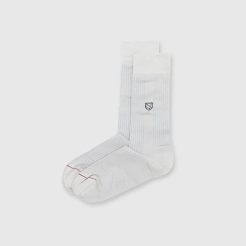 【男友禮物/免運】法國製抗菌防臭旗幟圖騰紳士男中筒襪│灰色