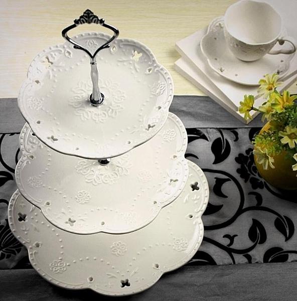 陶瓷水果盤歐式三層點心盤蛋糕盤多層糕點盤客廳創意糖果托盤架子 亞斯藍