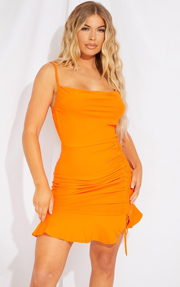 Orange Cotton Strappy Cowl Ruched Frill Hem Bodycon Dress