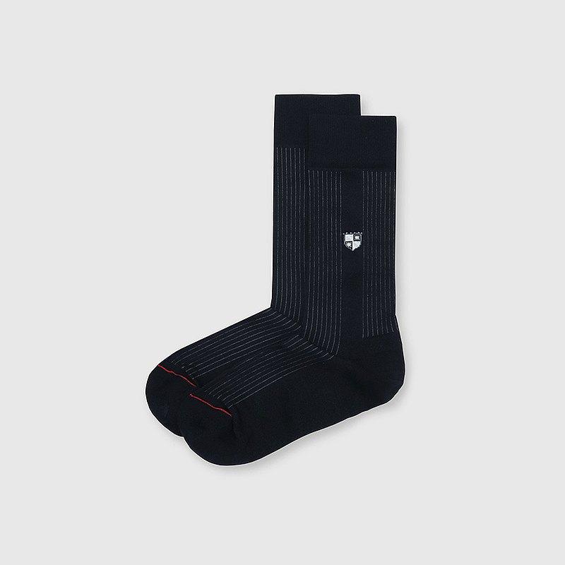 【男友禮物/免運】法國製抗菌防臭旗幟圖騰紳士男中筒襪│黑色