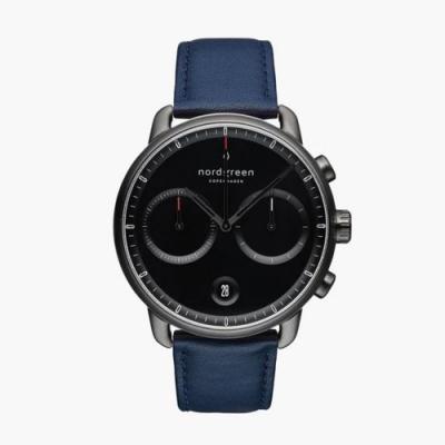 Nordgreen Pioneer | 極夜黑錶盤 - 北歐藍純素皮革錶帶42MM(PI42GMVENABL)