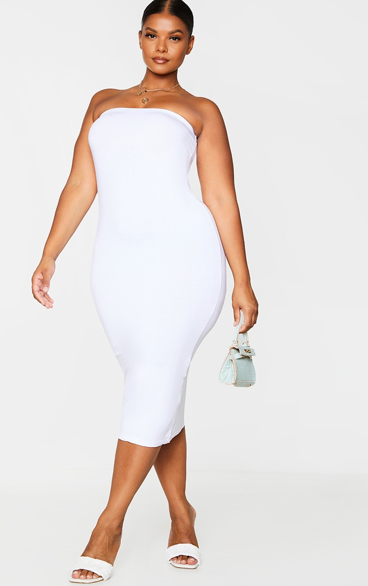 Plus Basic White Bandeau Midaxi Dress