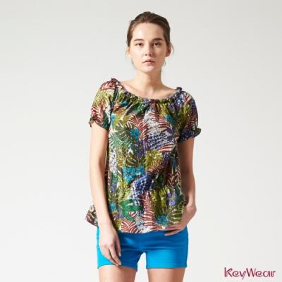 KeyWear奇威名品    炫彩印花圖騰荷葉邊短袖上衣-綜合色