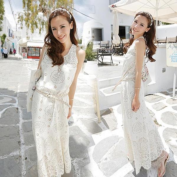 沙灘裙 名媛氣質性感蕾絲修身中長款洋裝波西米亞長裙沙灘裙夏女-Ballet朵朵