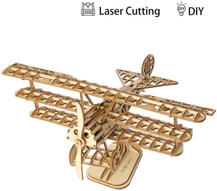 【日本代購】Robotime 立體拼圖 木制 鐳射加工 DIY 手工 兒童 玩具 飛機