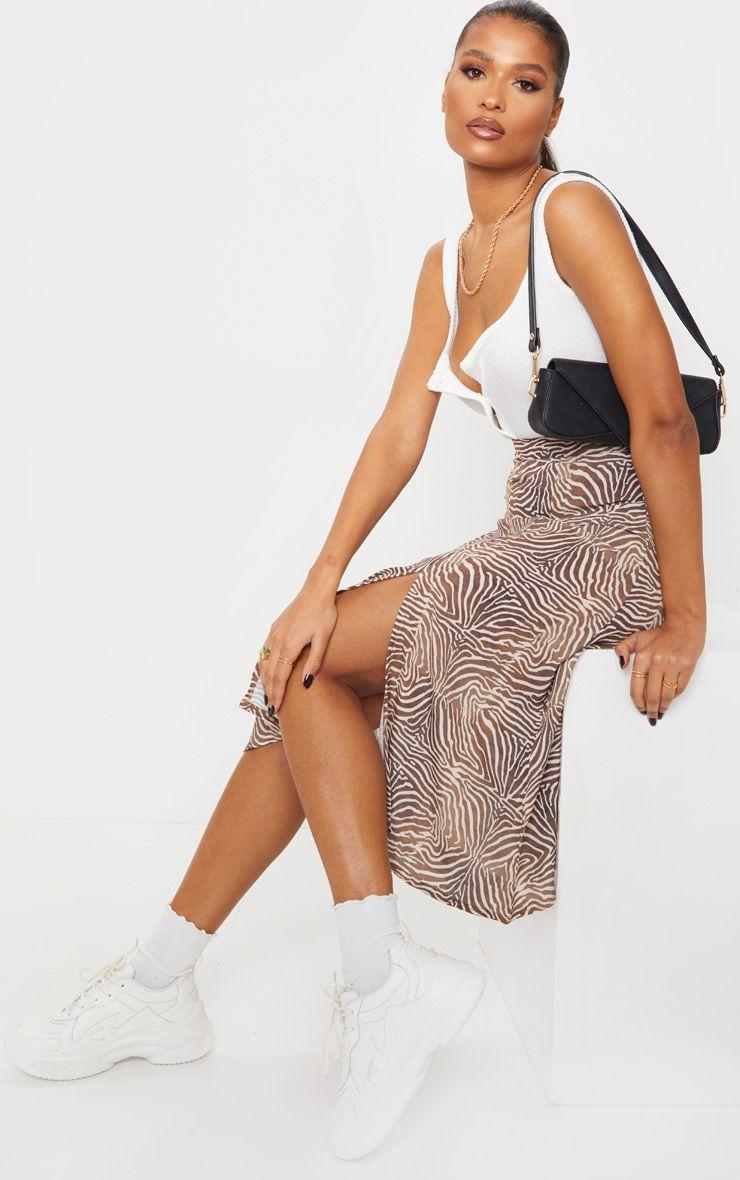 Brown Zebra Floaty Midi Skirt