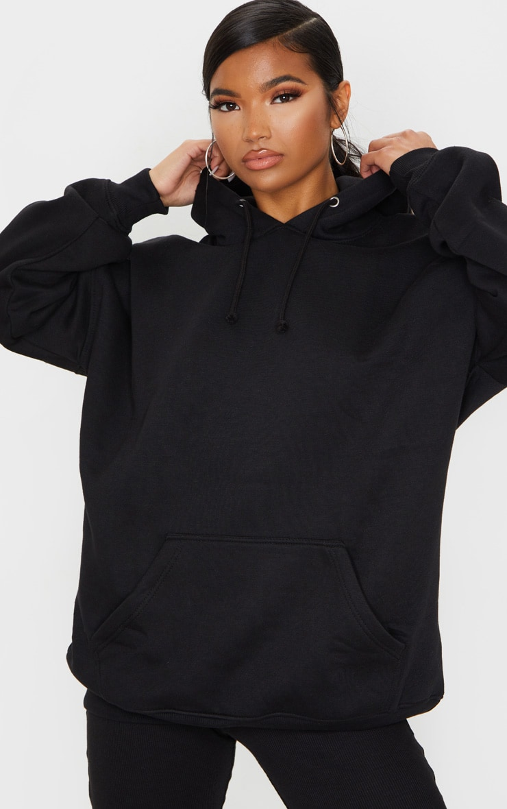 Black Oversized Pocket Front Drawstring Hoodie