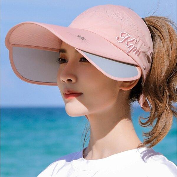 防曬帽夏天防紫外線遮陽帽 可伸縮拉板空頂太陽帽【庫奇小舖】
