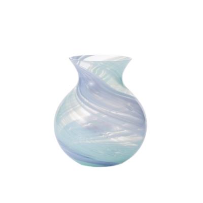 日本津輕 手作花露滴花瓶-淡藍色