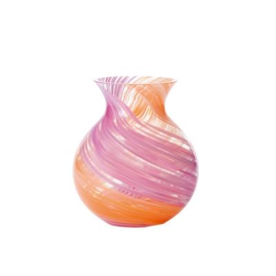 日本津輕 手作花露滴花瓶-粉橘色