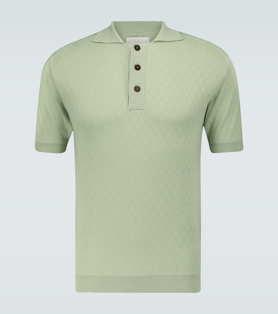 Short-sleeved wool polo shirt