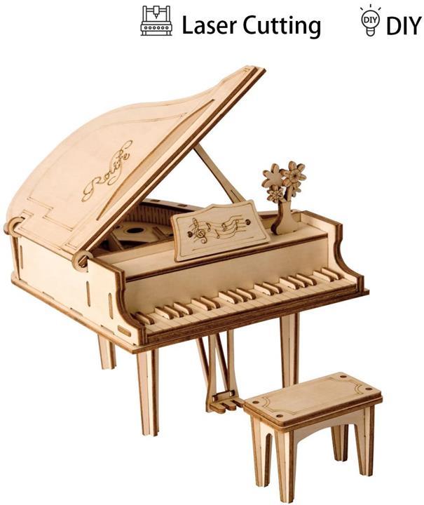 【日本代購】Robotime 立體拼圖 木制 鐳射加工 DIY 手工 兒童 禮物 玩具 鋼琴