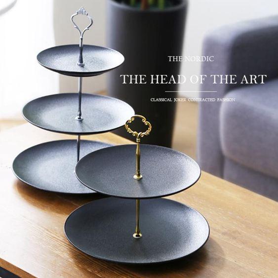 果盤陶瓷三層水果盤小精致創意現代客廳家用雙層糖果零食下午茶點心盤