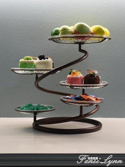 歐式鐵藝多層水果盤蛋糕架創意客廳下午茶點心托盤婚慶小吃北歐  秋冬新品特惠