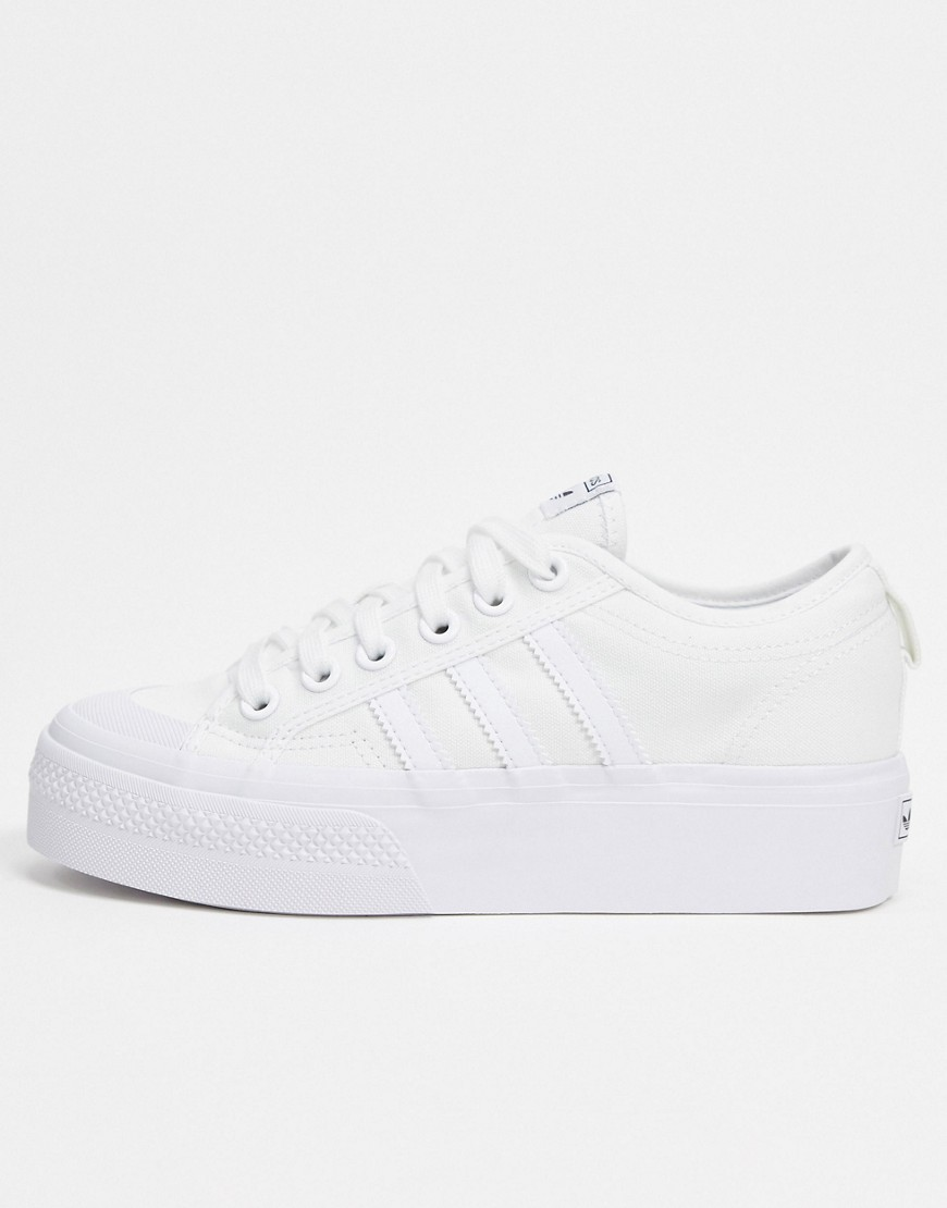 adidas Originals Nizza platform trainers in white