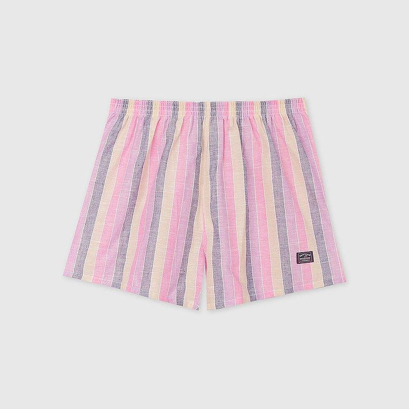 【男友禮物/免運】棉麻寬直條紋男四角褲/平口褲│粉灰