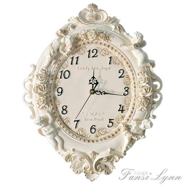 歐式客廳創意時尚藝術裝飾掛鐘靜音臥室時鐘大掛鐘錶天使石英鐘錶  秋冬新品特惠
