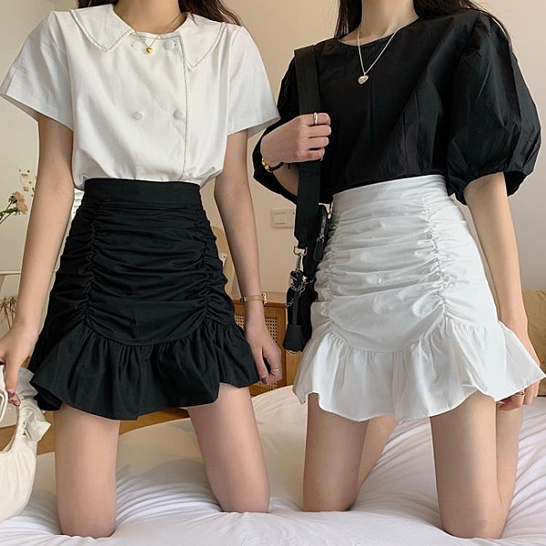 魚尾裙 魚尾裙半身裙女夏季高腰A字短裙褶皺包臀荷葉邊白色裙子-Ballet朵朵