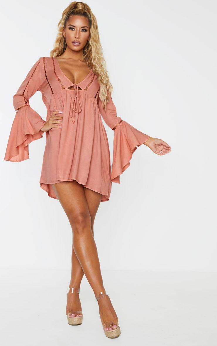 Pink Tie Front Frill Sleeve Beach Dress