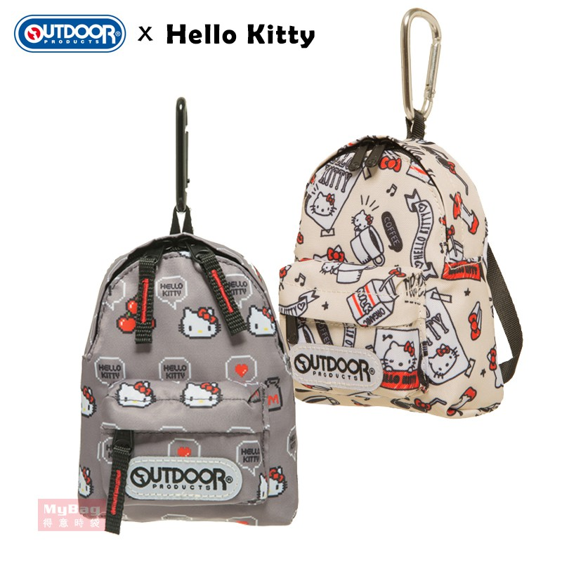 OUTDOOR x Hello Kitty 零錢包 聯名款迷你背包造型 登山鈎錢包 ODKT19A04 得意時袋
