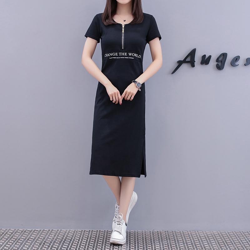 M-4XL大尺碼衣著 2020夏季女裝休閒印花洋裝寬鬆中長款收腰顯瘦T恤裙女