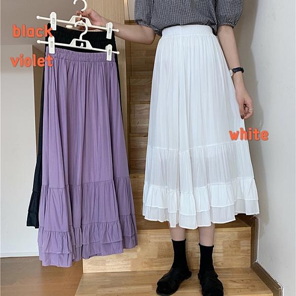 夏季2020新款韓版高腰顯瘦純色氣質百搭中長款荷葉邊A字半身裙女