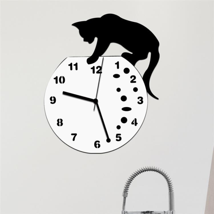 diy創意貓咪壓克力鐘表臥室掛鐘靜音時鐘簡約藝術壁鐘客廳牆鐘