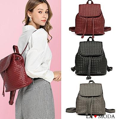 La Moda 時尚名牌Look大容量編織防盜背面拉鍊後背包